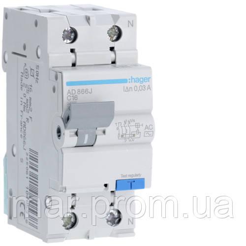 Дифференциальный автоматический выключатель 1P + N 4.5kA C-16A 30mA AC
