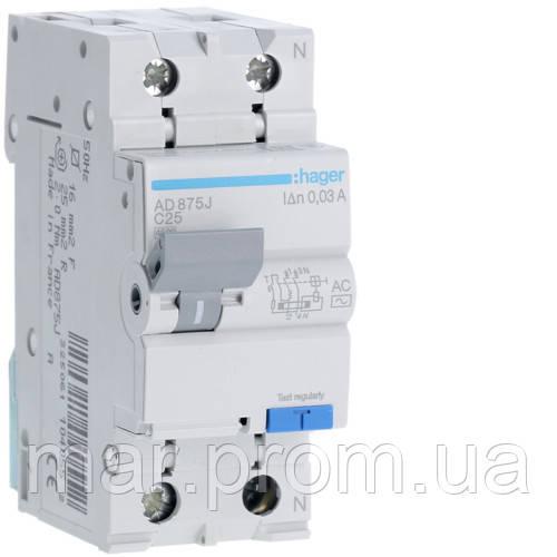 Дифференциальный автоматический выключатель 1P + N 4.5kA C-25A 30mA AC