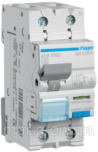 Дифференциальный автоматический выключатель 1P + N 10kA C-20A 30mA A