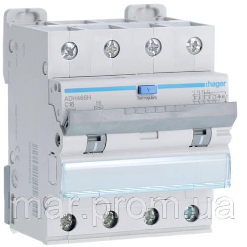 Дифференциальный автоматический выключатель 4P 6kA C-16A 30mA Hi