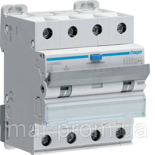 Дифференциальный автоматический выключатель 4P 6kA C-40A 30mA A