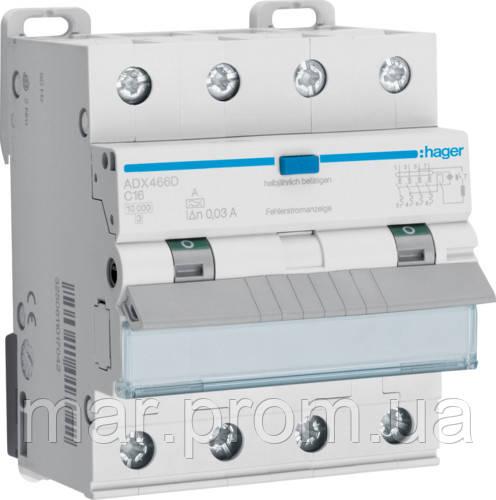 Дифференциальный автоматический выключатель 4P 10kA C-16A 30mA A