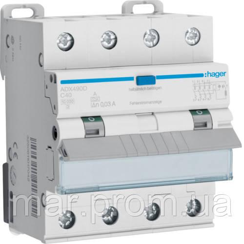 Дифференциальный автоматический выключатель 4P 10kA C-40A 30mA A