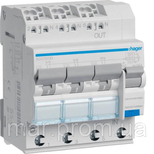 Дифференциальный автоматический выключатель 3x (1P + N) 6kA C-10A 30mA тип-А QuickConnect