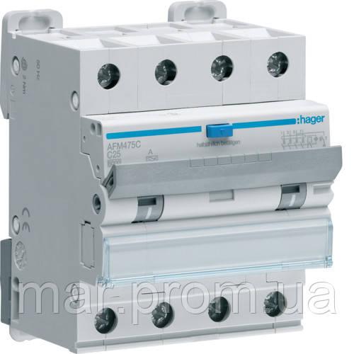Дифференциальный автоматический выключатель 4P 6kA C-25A 300mA A