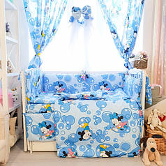 Детское постельное белье в кроватку Комфорт, комплект 8 предметов Микки Маус