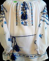 Вышиванка для девочки (ручная вышивка)''Синие розочки''