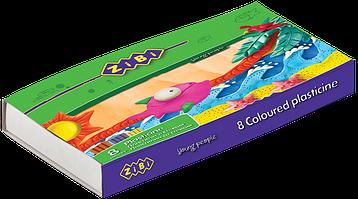 Пластилін 8 кольорів + стек, 160г
