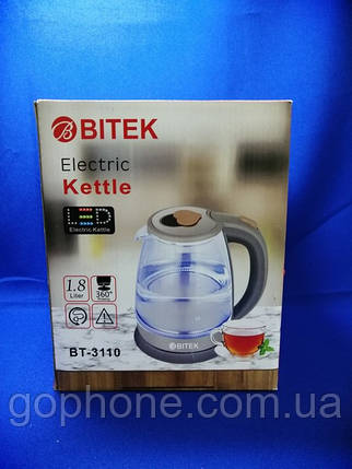 Чайник электрический Bitek BT-3110 1.8L 2400W LED подсветка, фото 2