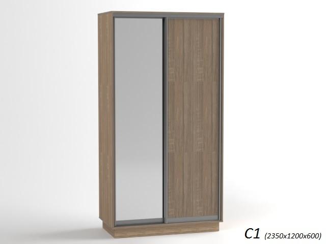 Шкаф купе 2-х дверный с зеркалом
