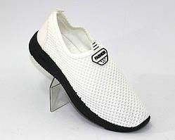 Белые летние стрейчевые кроссовки женские сетка