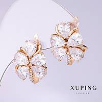 """Серьги Xuping """"Драгоценные цветы"""" с белыми цирконами d-14мм L-18мм позолота 18к"""