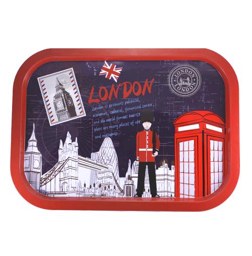 """Поднос прямоугольный металлический """"London"""", красный"""