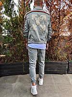 Мужской джинсовый пиджак серый 3346-1186
