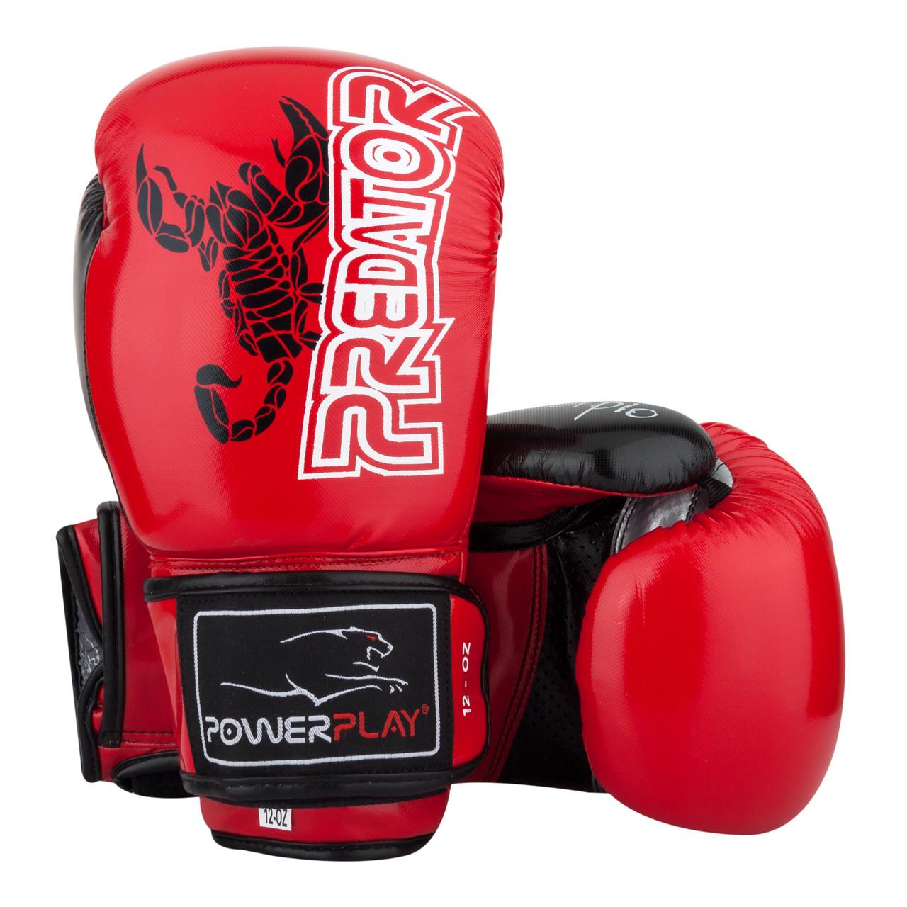 Боксерские перчатки PowerPlay 3007 красные карбон 12 унций