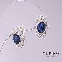 Серьги Xuping с синими цирконами d-9мм L-16мм родий