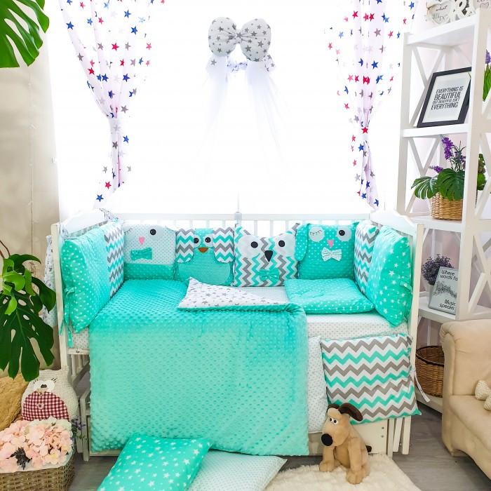 Детское постельное белье в кроватку, бортики подушки зверюшки, набор 8 предметов мятный, минки