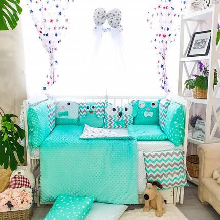 Детское постельное белье в кроватку, бортики подушки зверюшки, набор 8 предметов мятный, минки, фото 2