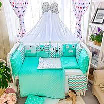 Детское постельное белье в кроватку, бортики подушки зверюшки, набор 8 предметов мятный, минки, фото 3
