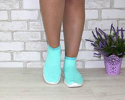 Бирюзовые текстильные кроссовки женские