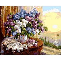 """Картина по номерам, картина-раскраска """"Сирень на окне"""" 40Х50см NB331"""