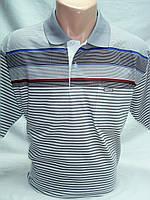 Футболка-поло мужская OT-THOMAS cв-серая в полоску с карманом 3XL