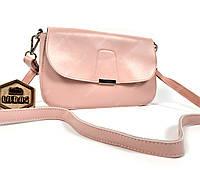Маленькая классическая сумка из натуральной кожи через плечо розовая , фото 1