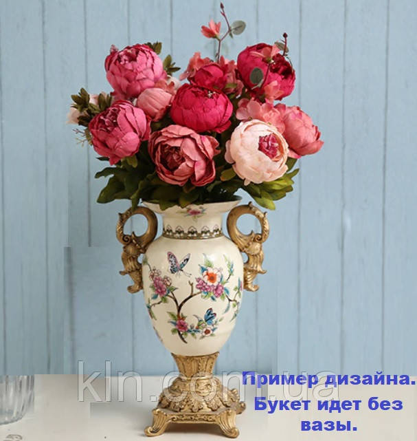 Штучні квіти піони з шовку красиві декор для дому