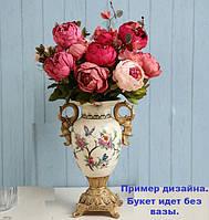 Искусственные цветы пионы с шелка красивые декор для дома
