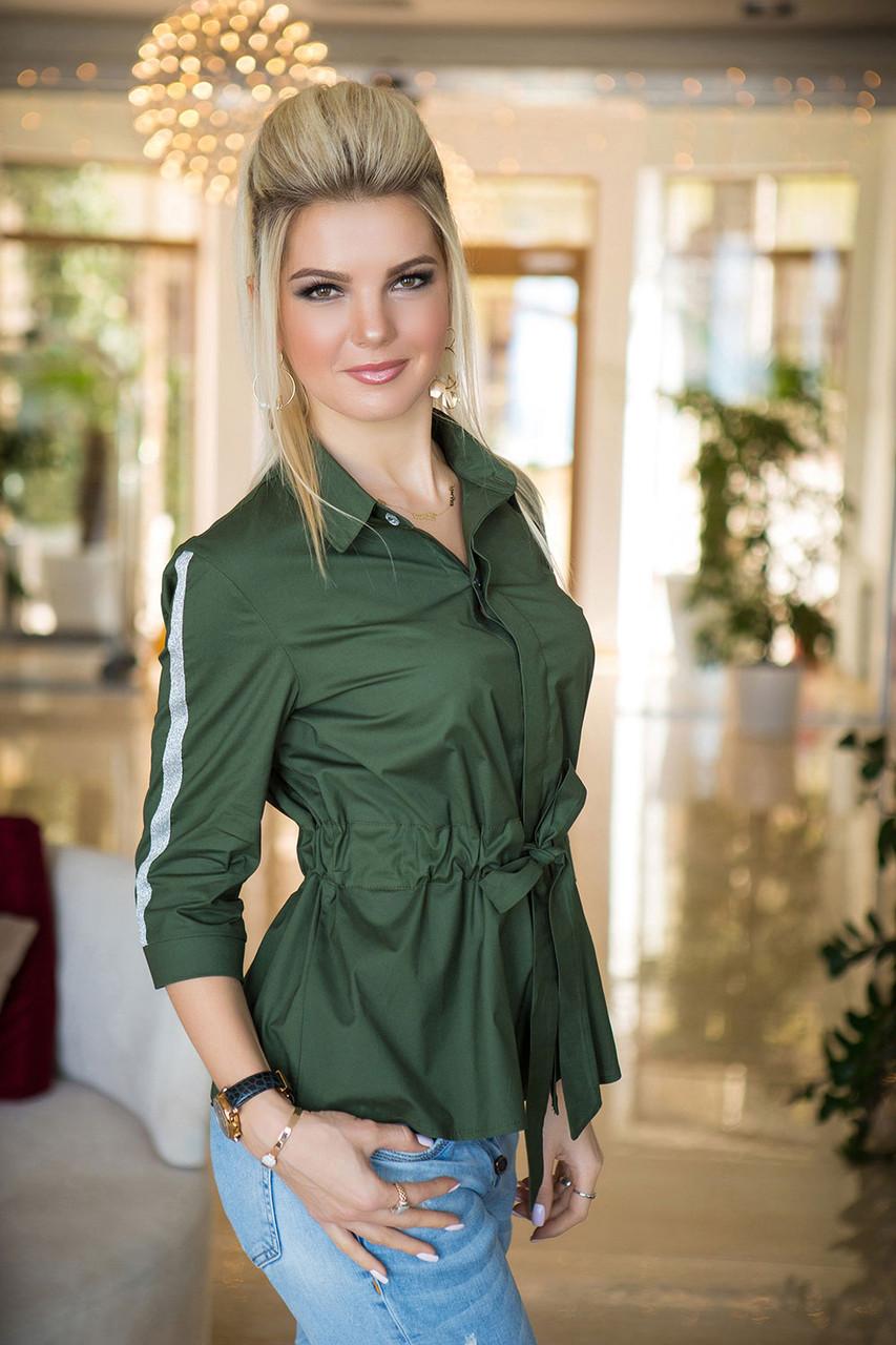 Рубашка оверсайз цвета хаки