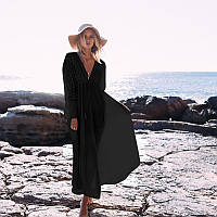 Пляжное платье с кружевными вставками  и рукавами черное