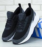 Мужские кроссовки Adidas Shark Grey black. Живое фото. Реплика