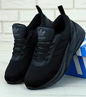 Мужские кроссовки Adidas Shark Tiple black. Живое фото. Реплика