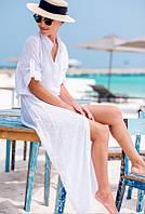 Пляжне довга сукня-сорочка шифонова білого кольору