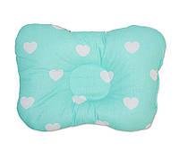 Подушка бабочка для новорожденных DavLu Сердечки 30х22 см мятный (P-043)