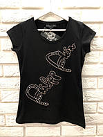 Летняя женская турецкая  футболка с надписью, FL 1076