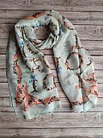 Шёлковый весенний шарфик в светло-зелёном цвете