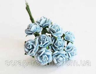 Роза мини голубая диаметр 1 см, роза голубая, бумажная роза голубая 1 см, розочка Таиланд, цена за 1 шт
