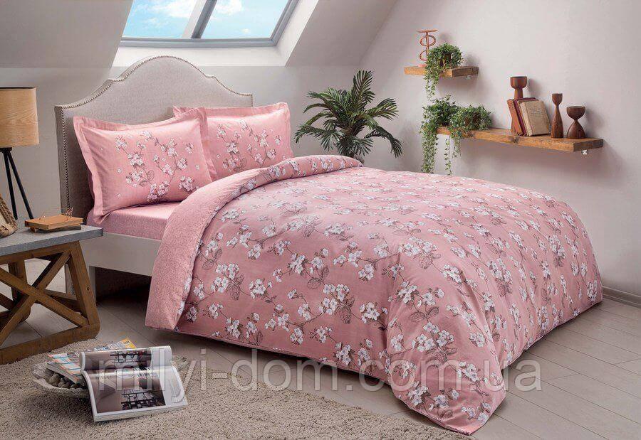 Двуспальное евро постельное белье TAC Lennie Pink Сатин
