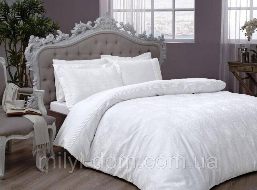 Двуспальное евро постельное белье TAC Diana White Сатин-Жаккард