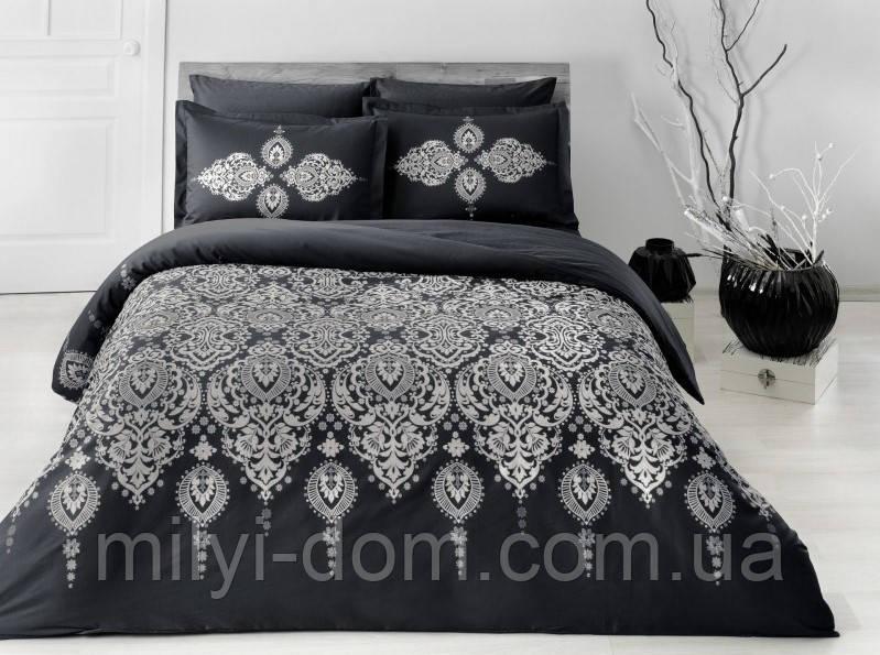Двуспальное евро постельное белье TAC Rados black Сатин-Delux