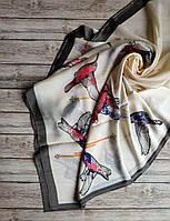 Шёлковый весенний шарфик в бежевом цвете