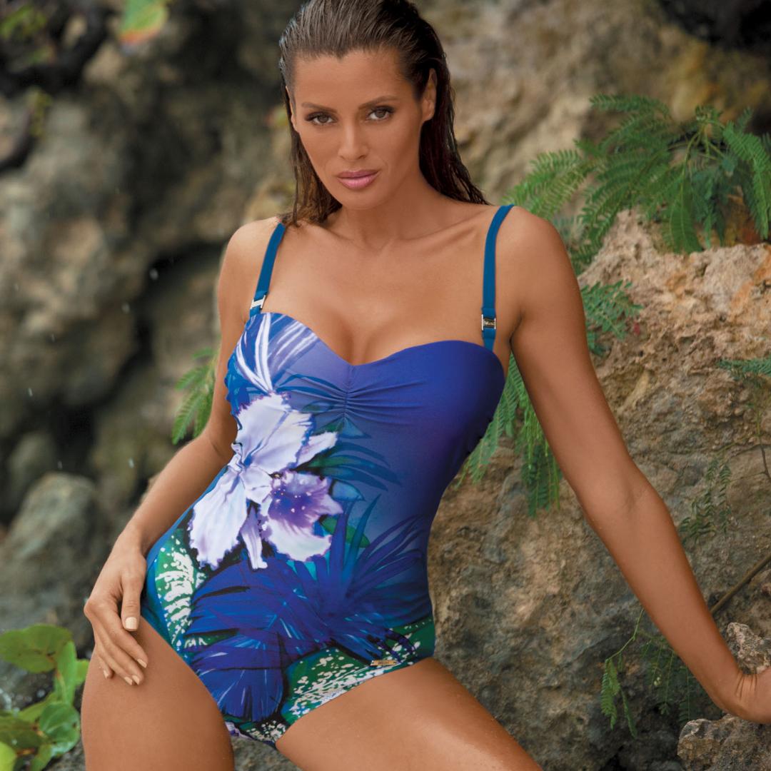 Качественный купальник с цветочным принтом MARKO M 378 NICOLE