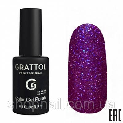 007 - Grattol Color Gel Polish OS Opal, 9ml (фиолетовый с ярко-синими частицами)