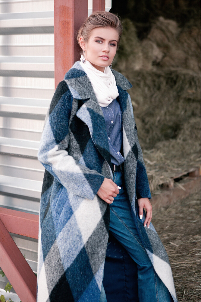 Шикарное макси пальто в клетку VAM.