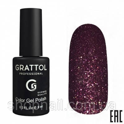 010 - Grattol Color Gel Polish OS Opal, 9ml (фиолетово-коричневый с розово-зелеными частицами)