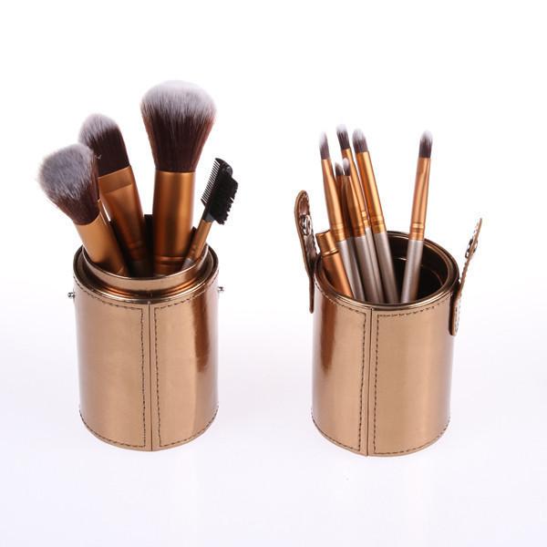 Кисти для макияжа Naked Gold Золотые 12 штук в  (уценка - потерт тубус)