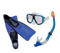 Набор для плавания Intex 55957 от 8 лет, ласты 38-40, синий