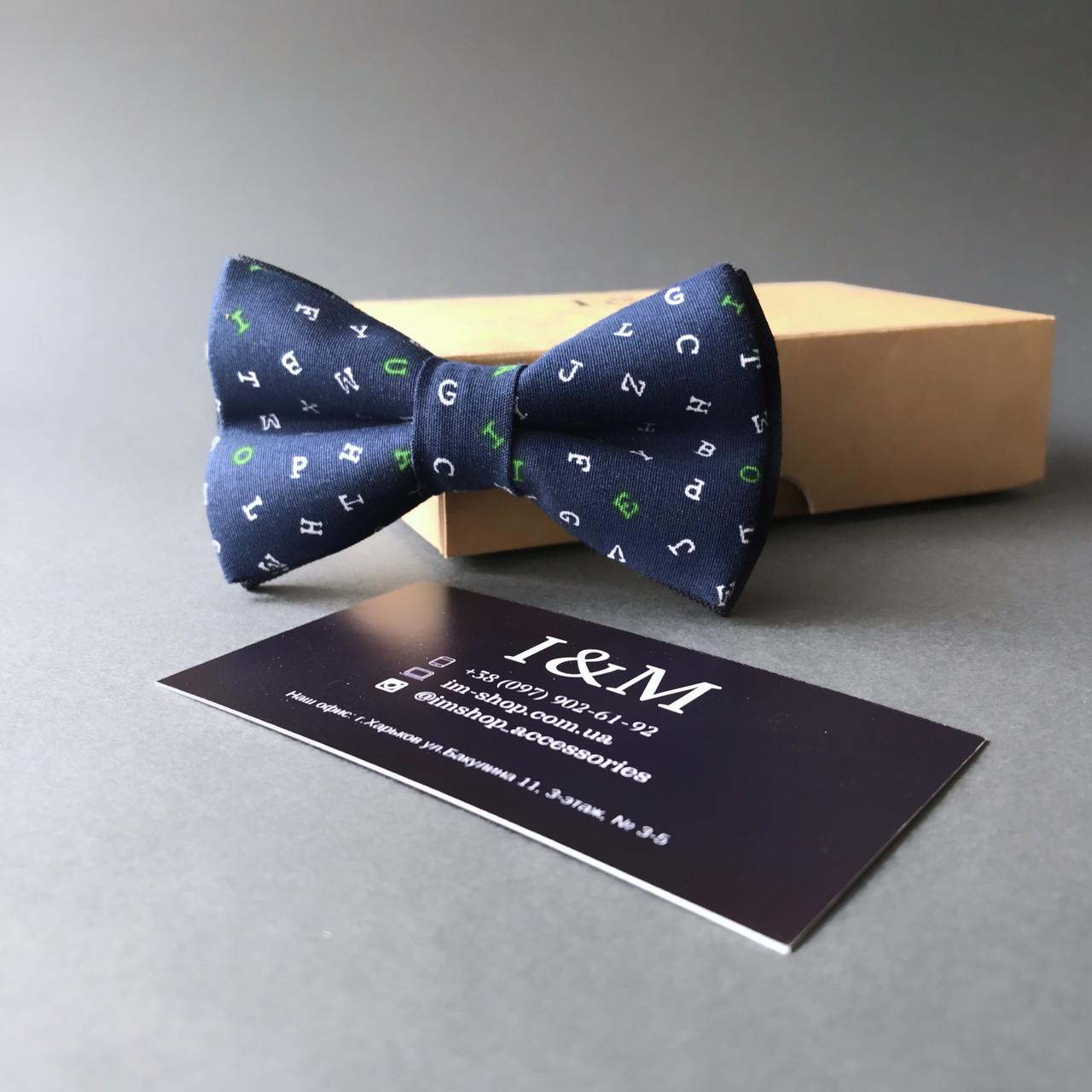 Краватка-метелик I&M Craft дитячий темно-синій з буквами (00084k)