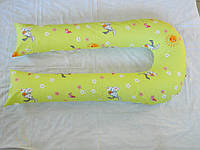 Наволочка на подушку для беременных U-340 цвет зайчики на салатовом фоне